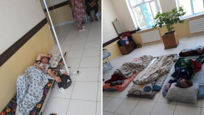В Карши беременных женщин разместили на полу больницы